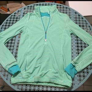 Lululemon Rulu green striped running pullover
